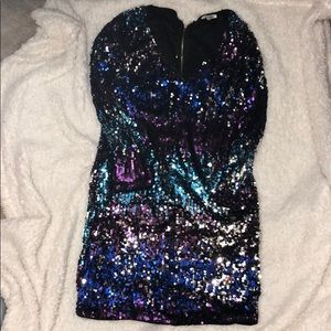 Fashion Nova | Mutli-Colored V-neck Sequin Dress